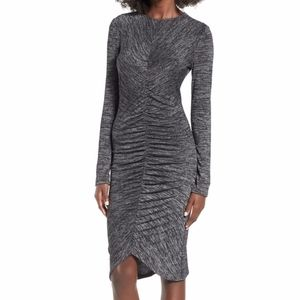Leith Ruched Front long sleeve dress Charcoal grey